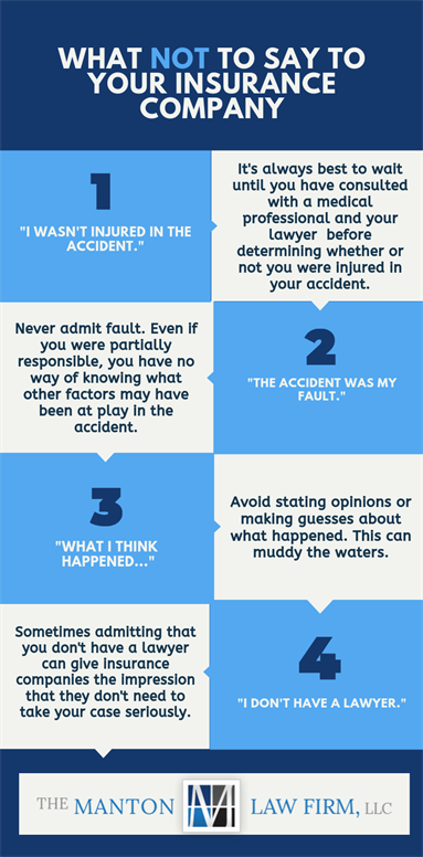 Infographic of what not to say to your insurance company