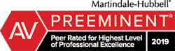 AV Preeminent Rating by Martindale Hubbell 2019